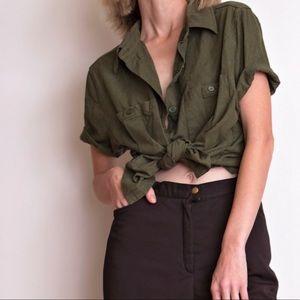 Vintage 80s green raw silk button down blouse